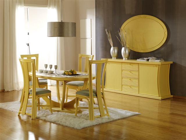 Salles a manger rotin magasin au brin d 39 osier vente de for Table salle a manger jaune